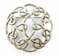 Vintage Pewter Celtic Knotwork Design Brooch.